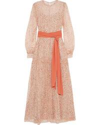 Vestido largo con print de flores rosado