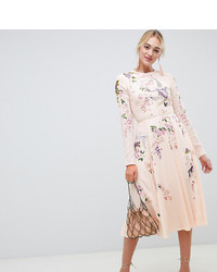 Vestido largo con print de flores rosado de Asos Tall