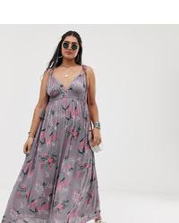 Vestido largo con print de flores rosado de En Crème Plus