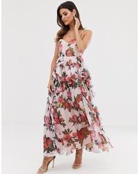 Vestido largo con print de flores rosado de Forever U