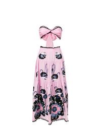 Vestido largo con print de flores rosado de Yuliya Magdych
