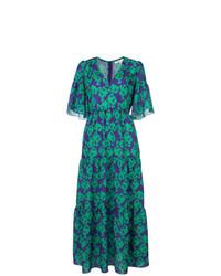 Vestido largo con print de flores verde de Borgo De Nor