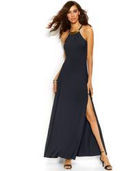 Vestido largo con recorte azul marino