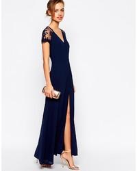 Vestido Largo Con Recorte Azul Marino De Jarlo 139 Asos