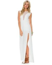 Vestido largo con recorte blanco