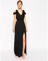 Vestido Largo con Recorte Negro de Asos