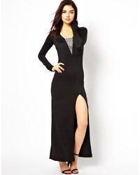 Vestido Largo con Recorte Negro de Little Mistress