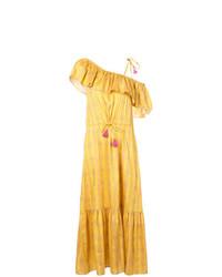 Vestido largo con volante amarillo de Figue