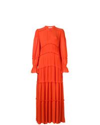 Vestido largo con volante naranja de Tory Burch