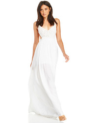 Vestido largo de crochet blanco