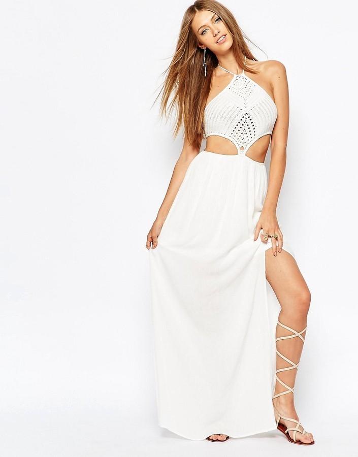 Vestido largo crochet blanco