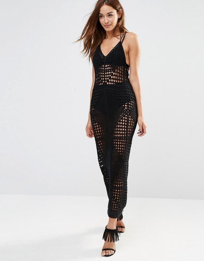 54 Vestido Largo De Crochet Negro De Missguided