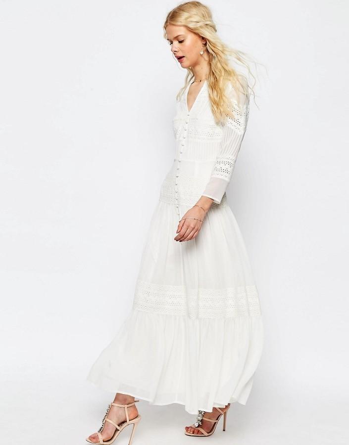 43b2f2fd7 ... Vestido largo de encaje blanco de Asos ...