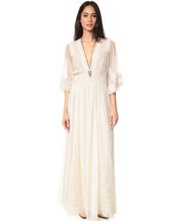 b6bea71bf Comprar un vestido largo bordado en beige  elegir vestidos largos ...