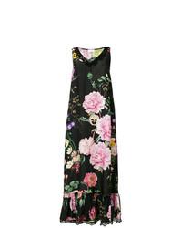 Vestido largo de encaje con print de flores negro de P.A.R.O.S.H.