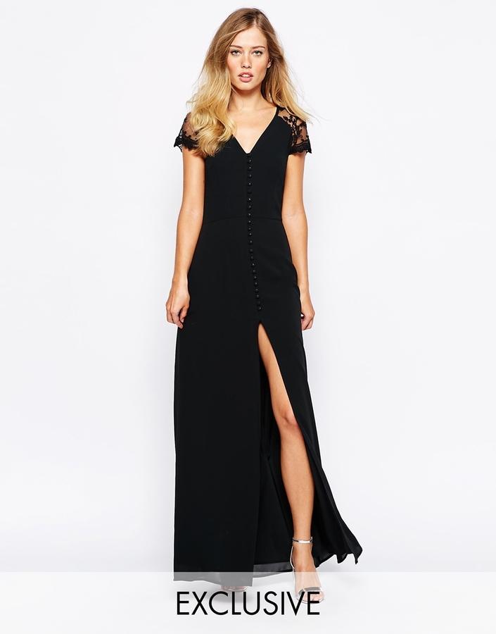 Vestido Largo De Encaje Negro De Jarlo