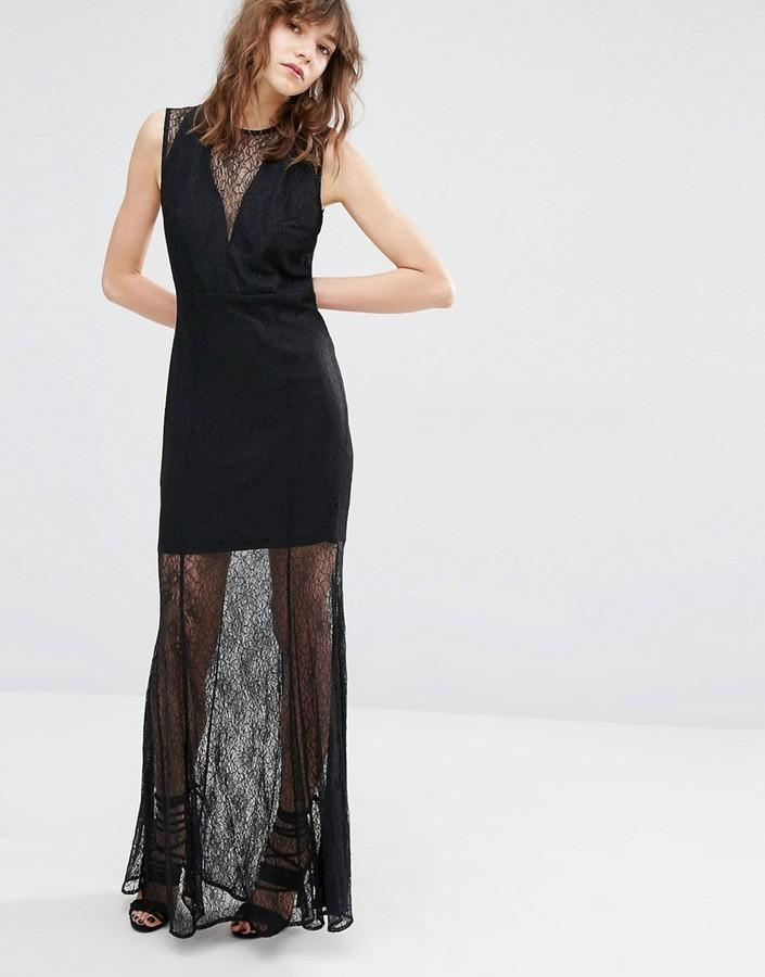 el mejor Boutique en ligne nueva lanzamiento €132, Vestido largo de encaje negro de Mango