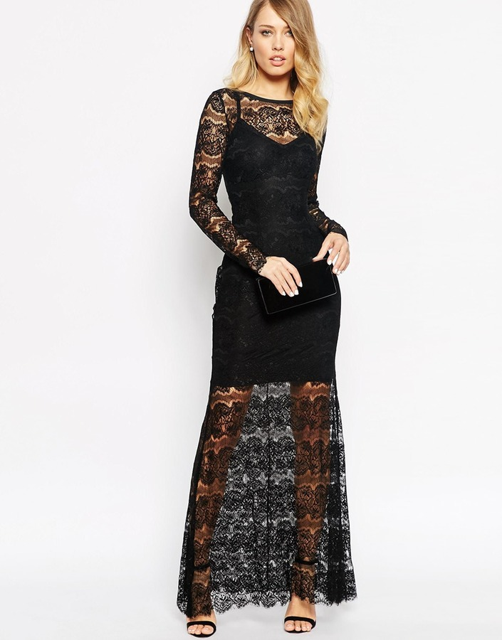 357 Vestido Largo De Encaje Negro