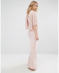 Vestido largo de encaje rosado de Mango
