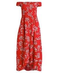 Vestido largo flores rojo