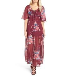 Vestido largo de gasa con print de flores rojo
