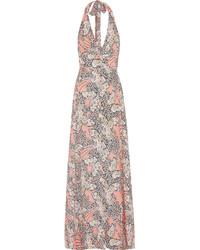 Vestido largo de gasa con print de flores rosado de Paul & Joe