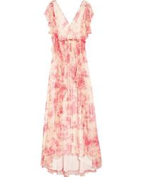 Vestido largo de gasa con print de flores rosado