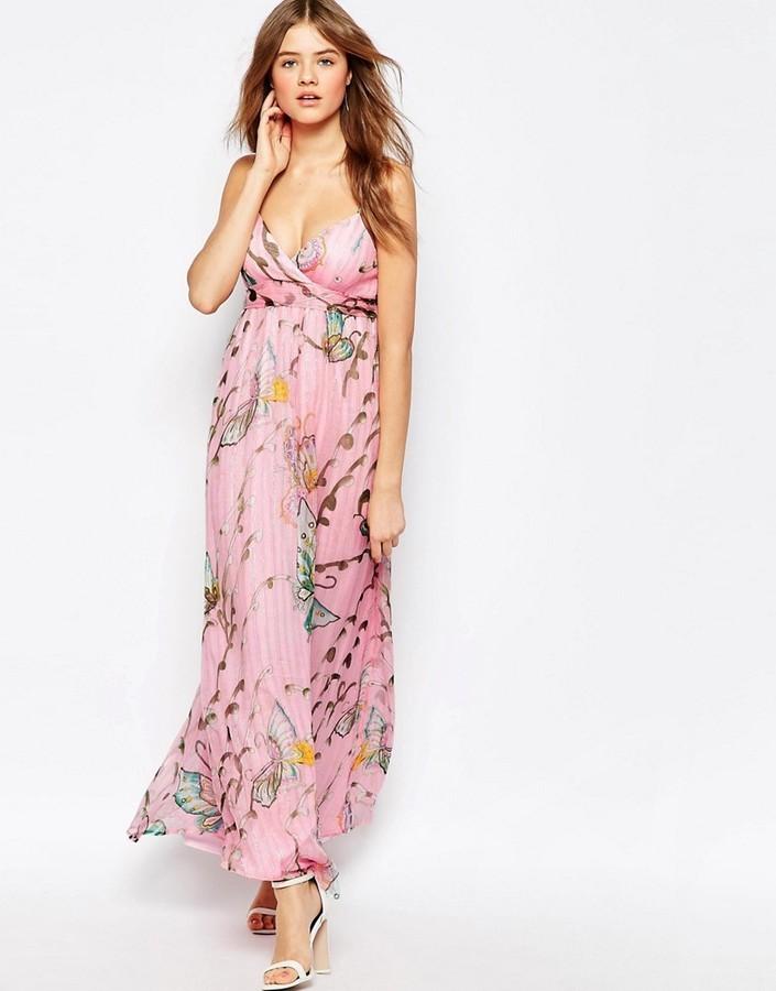 Vestido Largo de Gasa con print de flores Rosado: dónde comprar y ...