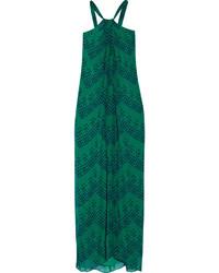 Vestido largo de gasa estampado verde de Diane von Furstenberg