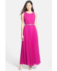 Vestido largo de gasa rosa