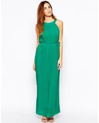 Vestido largo de gasa verde