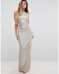 Vestido largo de lentejuelas plateado de PrettyLittleThing