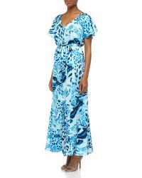 Vestido largo de leopardo azul
