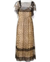 Vestido largo de leopardo marrón de RED Valentino