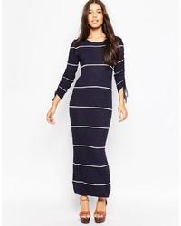 Vestido largo de rayas horizontales azul marino de Mango