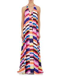 Vestido largo de rayas horizontales en multicolor