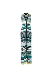 Vestido largo de rayas horizontales verde de Diesel Black Gold