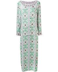 Vestido largo de seda con adornos en verde menta de Tory Burch