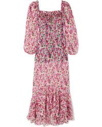 Vestido largo de seda con print de flores rosado
