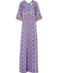 Vestido largo de seda estampado violeta claro de Tory Burch