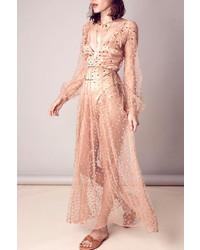 Vestido largo de tul a lunares en beige