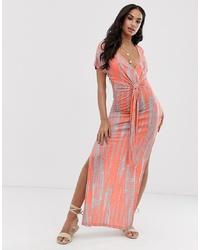 Vestido largo efecto teñido anudado naranja