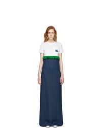 Vestido largo en blanco y azul marino de Prada