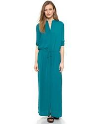 Vestido largo en verde azulado de Vince