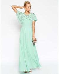 Vestido largo en verde menta de Asos