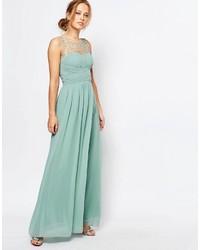 Vestido largo en verde menta de Little Mistress