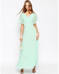 Vestido largo en verde menta