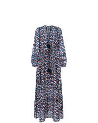 Vestido largo estampado azul marino de Tory Burch