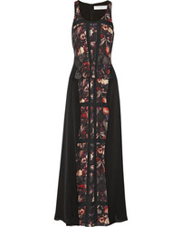 Vestido largo estampado negro