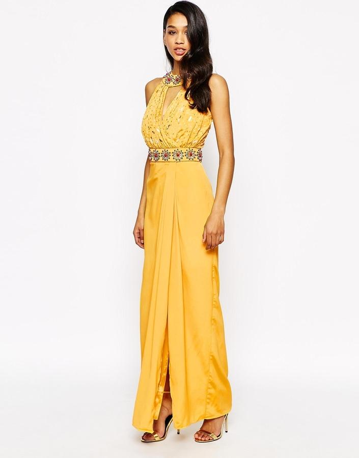Vestido largo color mostaza